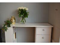 Modern White 3 Drawer Desk