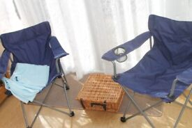 Wicker Picnic Basket, 2 fold up chairs and blanket