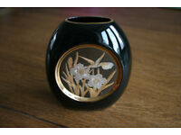 Small Pretty Black Vase with Hummingbird Decoration Japan Art of Chokin Excellent Condition