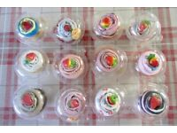 12 Cupcake Plastic Strawberry Topped Socks (Price for 12)