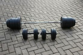 70kg vinyl weights set, barbell and pair of dumbbells / dumbells. Perfect for home gym exercise