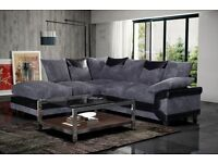 Very nice Brand New Brown and Mocha or Black & Grey Corner Sofa With Large Foot Stool .Can deliver