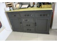 shabby chic style grey & yellow cupboard Unit storage unit with drawers
