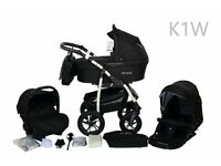 Ambre Baby Travel System Pram Pushchair 3in1 Child Stroller Buggy Car Seat