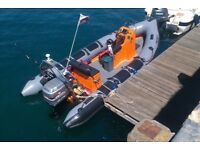 5.85m RIBCRAFT BOAT with 135 MARINER ENGINE & TRAILER Ideal DIVERS, WATERSPORTS ETC