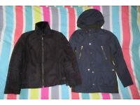 ZARA Men's Jackets x2 - Black Faux Fur Lined and Navy Brown Hooded - Size M