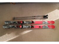 K2 fujative freestyle skis with salomon bindings and scott poles