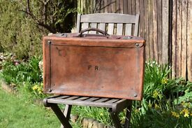 "Vintage Leather Suitcase ""The Aldersgate"" London- with Brass Fittings"