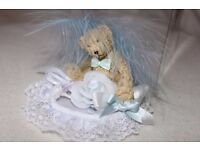 Baby Boy / Christening CAKE TOPPER DECORATION (BLUE/WHITE) Teddy Bear / Lace / Feather / Roses