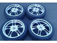 18 MULTIFIT 4 STUD WOLFRACE ALLOY WHEELS RENAULT HONDA TOYOTA CLIO FORD CITROEN 4 X 100 108