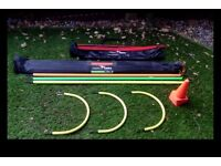 Football Agility Training Equipment, including small hurdles, cones and agility poles