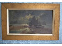 Antique signed Oil Painting 'Night Fishing'
