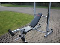 York 540 2 in 1 olympic weights bench / squat rack. Preacher curl, lat pulldown and leg extension