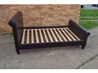 Como Double Brown Bed Frame 4Ft Wide Leather Sleigh No Mattress Can Deliver Rushden
