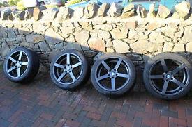 """BMW VW Audi Skoda Seat Alloy Wheels + Winter Tyres 18"""" Bolas Alloys anthracite vgc"""