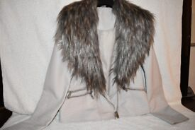 ladies leather-look jacket with fur collar