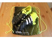 adidas ACE 15.1 FG/AG Leather Football Boots Size UK 9.5 - core black / solar yellow / white