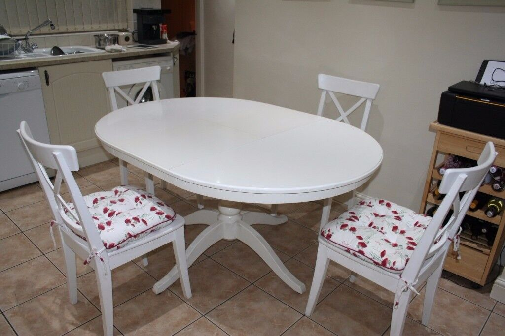 Shabby Chic Round or Oval (Extending) Table and 4 Chairs