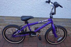 "Rooster Zuka 18"" Boys/Girls BMX Bike - Purple - As New with Stunt pegs"