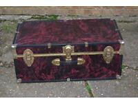 Vintage Purple Steamer Trunk Chest Treasure Storage Luggage 77 x 41 x 32