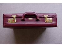Leather briefcase with security locks as new