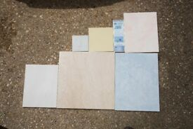 Various ceramic tiles in different quantities.
