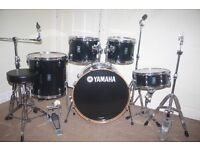 "Yamaha Rydeen Black 5 Piece Complete Drum Kit (22"" Bass) All Stands + Stool + Cymbal Set"