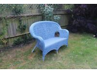 Blue Two seater woven WICKER sofa/couch Good condition
