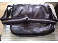 Black leather laptop bag / satchel / messenger bag / cross body bag