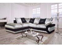 ❤Extra Padded And Extra Toughened Frame❤ Silver/Black Diamond Crushed Velvet Corner Sofa Or 3+2 Sofa