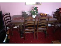 Vintage, (9 foot) Oak Hand Carved Polished Extendable Dinning Table (& 6 matching Chairs)