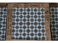Patterned ceramic floor tiles