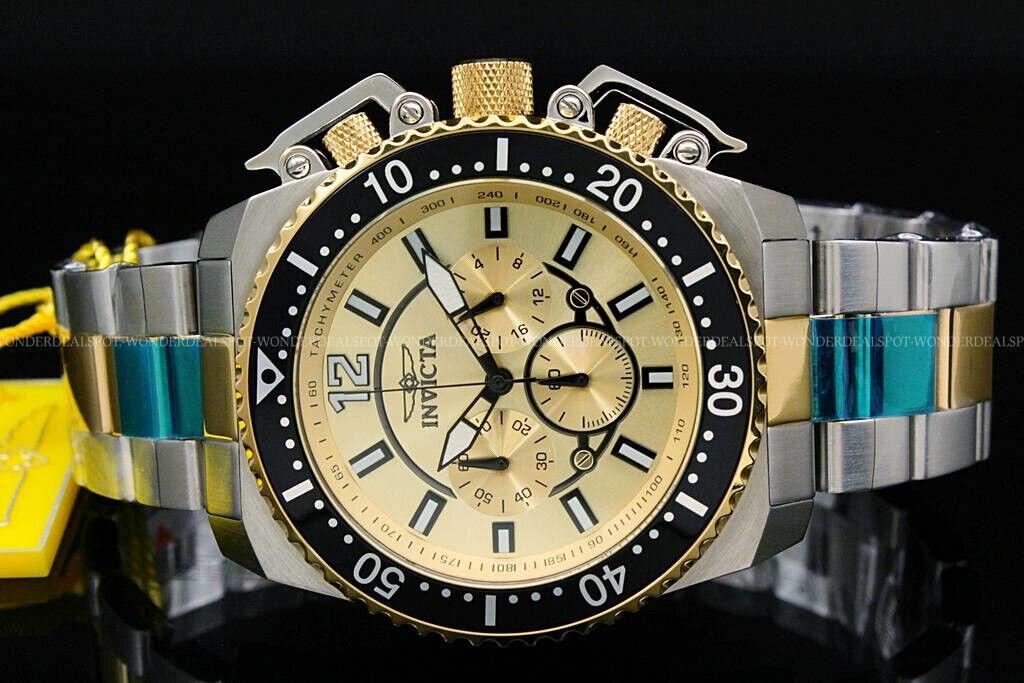 Invicta 21955 Men's Pro Diver Chrono 18K GP and SS Gold-Tone