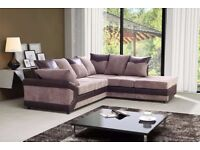 LEFT/RIGHT HAND SIDE -BRAND NEW DINO JUMBO CORD CORNER OR 3 AND 2 SEATER SOFA--BLACK/GREY OR BROWN--