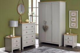 Brand new Lancaster 4 piece bedroom country set 3 door wardrobe, chest, bedside cabinets GREY CREAM