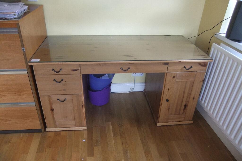Reduced Ikea Alve Solid Antique Pine Wood Computer Desk Glass Top W65 H74 L152cm