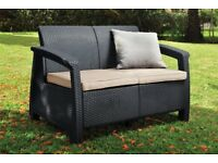 Rattan Sofa Outdoor Garden Furniture - Graphite with Cream Cushions!