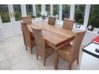 Large 6 seater solid wood kitchen/dining table & chairs.