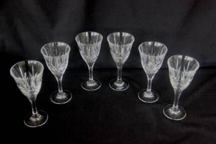 "Weighted Crystal Wine Glasses - 6 - ""BOHEMIA Jihlava"" on label"