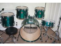 Premier XPK Emerald Green Lacquered 5 Piece Drum Kit - Made In England - DRUMS ONLY