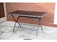 New Folding Garden Patio Outdoor Glass Table