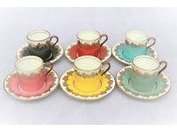 China coffee set, Aynsley Engish Bone China Harlequin coffee set pattern no. 1788