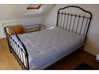 Victoria style, metal frame double bed with mattress