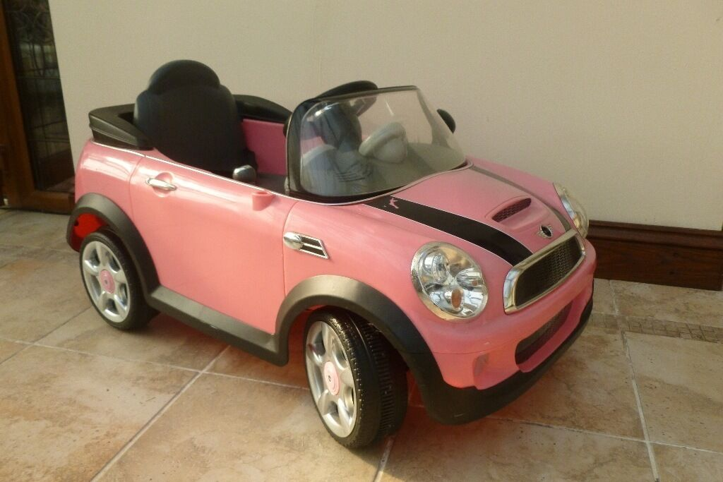 mini cooper convertible pink. girls mini convertible style ride on 12v re chargeable car in pink mini cooper convertible pink