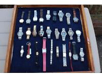 JOBLOT OF 28 QUALITY WATCHES, MANY WORKING, SOME RARE. 20 GENTS, 8 LADIES. ABSOLUTE BARGAIN.