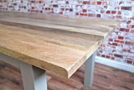 New Hardwood Chunky Slab Rustic Dining Table - Generous Six-Seater