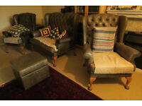Leather Suite,dark olive green consisting of 4 pieces, settee, two arm chairs & footrestt
