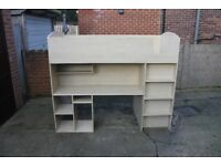 High Sleeper Bed with Desk, Wardrobe and Shelves