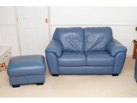 Blue Leather Two Seater Sofa and Storage Footstool - REDUCED - £55.00