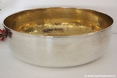 CENTROTAVOLA ANNI '70 IN SILVER PLATED E VERMEILLE VINTAGE EPNS HAMMERED  BOWL